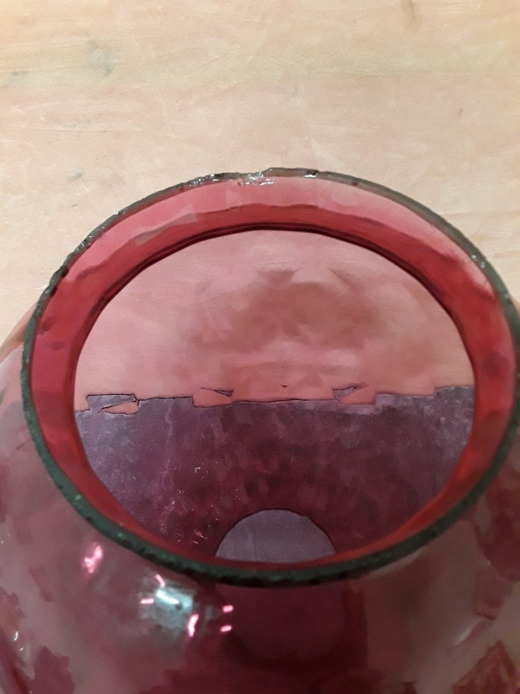 Lot 1 - A large hand blown Cranberry glass shade for an oil lamp.