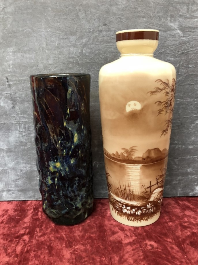 Lot 25 - A hand painted opaline vase and a Medina glass vase.