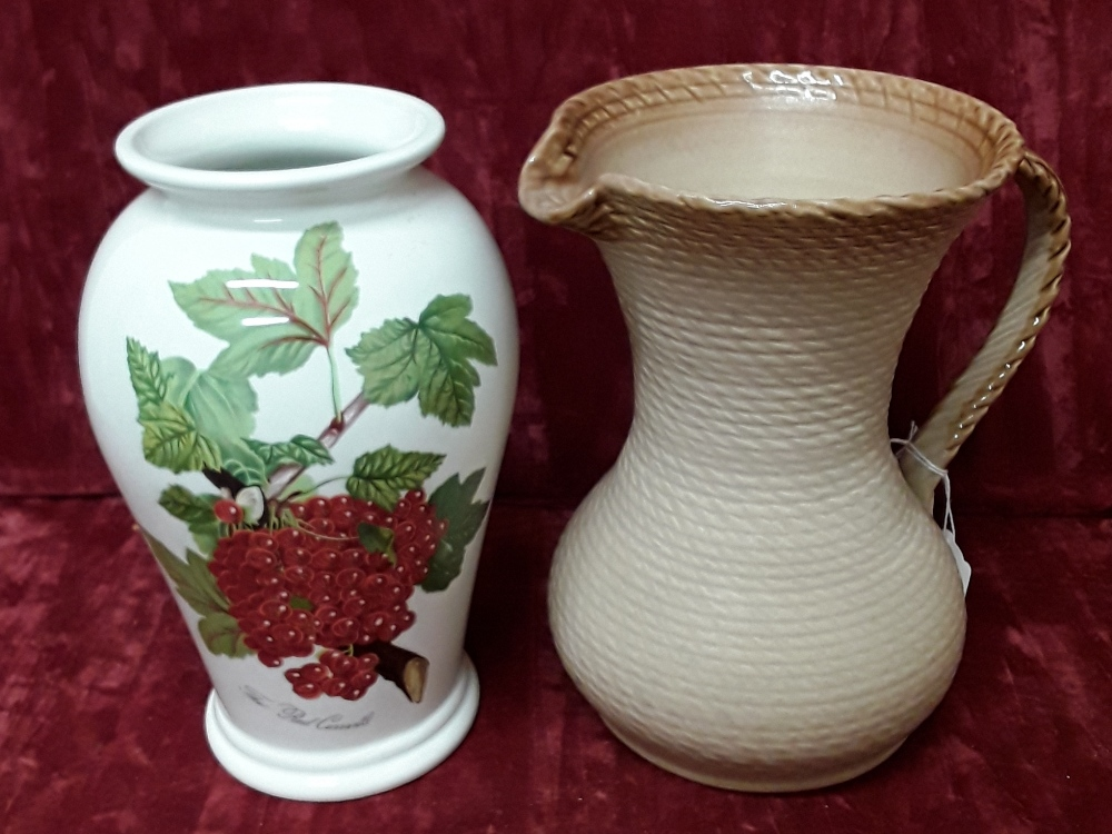 Lot 53 - A Portmerion Pomona vase – 'The Red Current' and large fawn jug with rope effect on handle and rim.