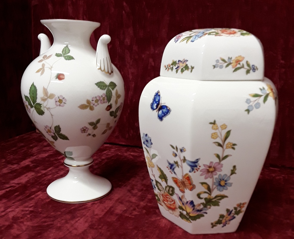 Lot 19 - A Wedgwood 'Wild Strawberry' vase and an Aynsley lidded pot 'Cottage Garden'.