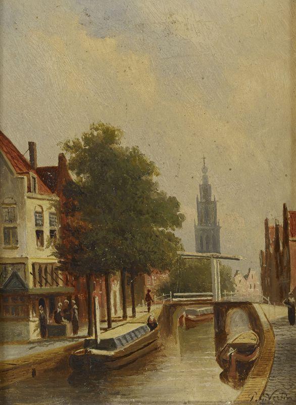 Lot 51 - Petrus Gerardus VERTIN (1819-1893) - Vue sur le canal- Huile sur panneau signée en [...]
