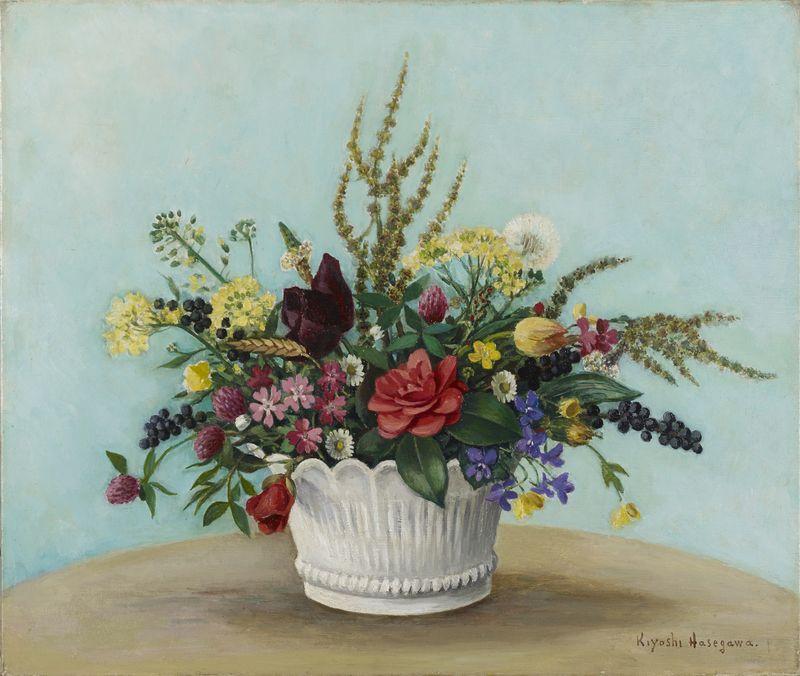 Lot 60 - Kiyoshi HASEGAWA (1891-1980) - Bouquet de fleurs - Huile sur toile signée en bas à [...]