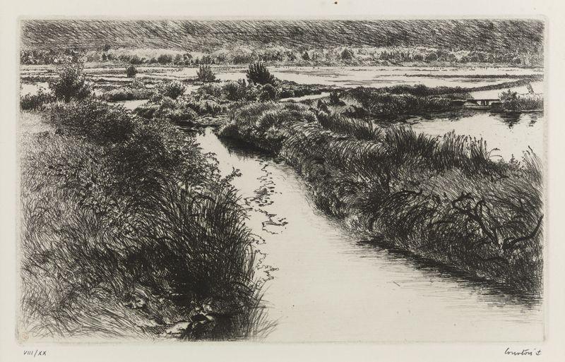 Lot 6 - Pierre COURTOIS (1936) - Les Marais de Pen An Toul (Morbihan) - Eau forte signée en [...]