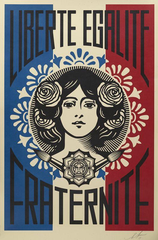 Lot 34 - Shepard FAIREY dit OBEY (1970) - Liberté, Egalité, Fraternité - Sérigraphie - [...]