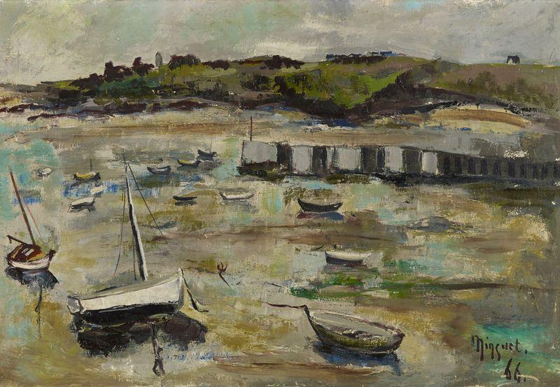 Lot 21 - Alexandre MINGUET (1937-1996) - Voiliers à marée basse - Huile sur toile en bas à [...]