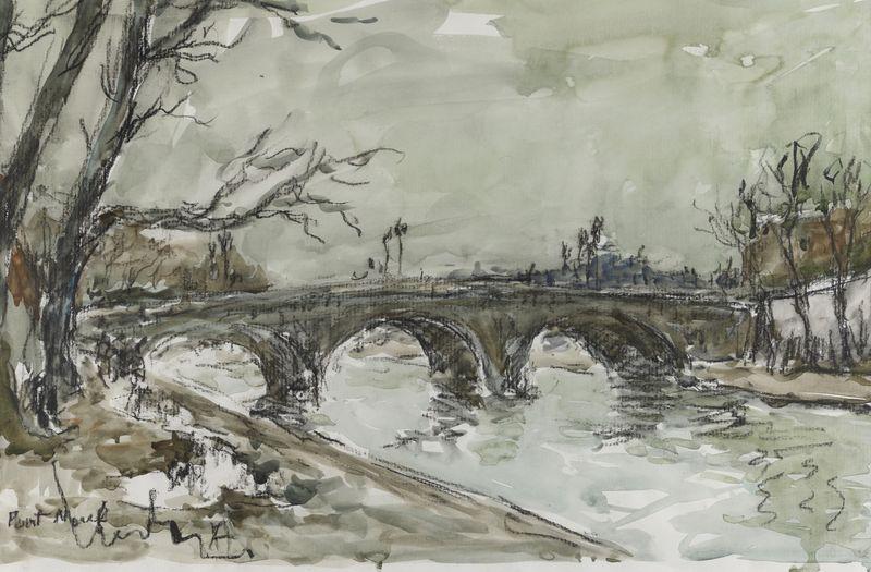 Lot 13 - Fernand HERBO (1905- 1995) - Pont Marie - Aquarelle lavis et crayon gras signé et [...]