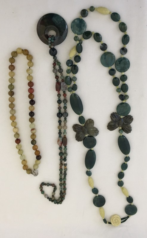 Lot 1048 - 3 natural stone necklaces.