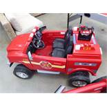 Electric powered childs fire engine with charger