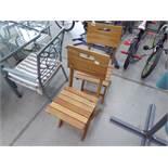4372 Pair of hardwood folding slated wood garden chairs