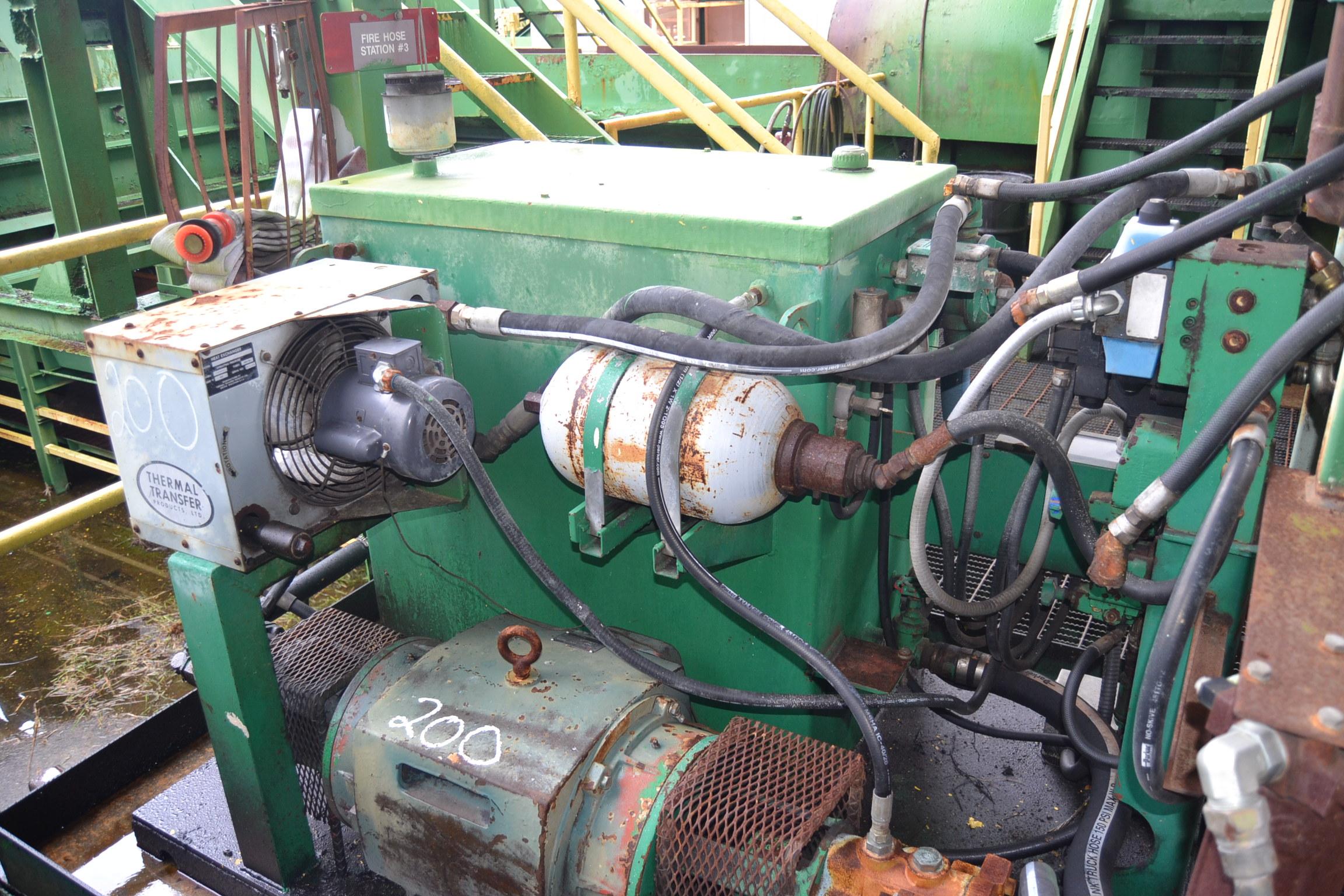 "Lot 200 - NICHOLSON A2 35"" RING DEBARKER W/MOTOR & CONTROLS; W/40 HP HYDRAULIC POWER PACK"