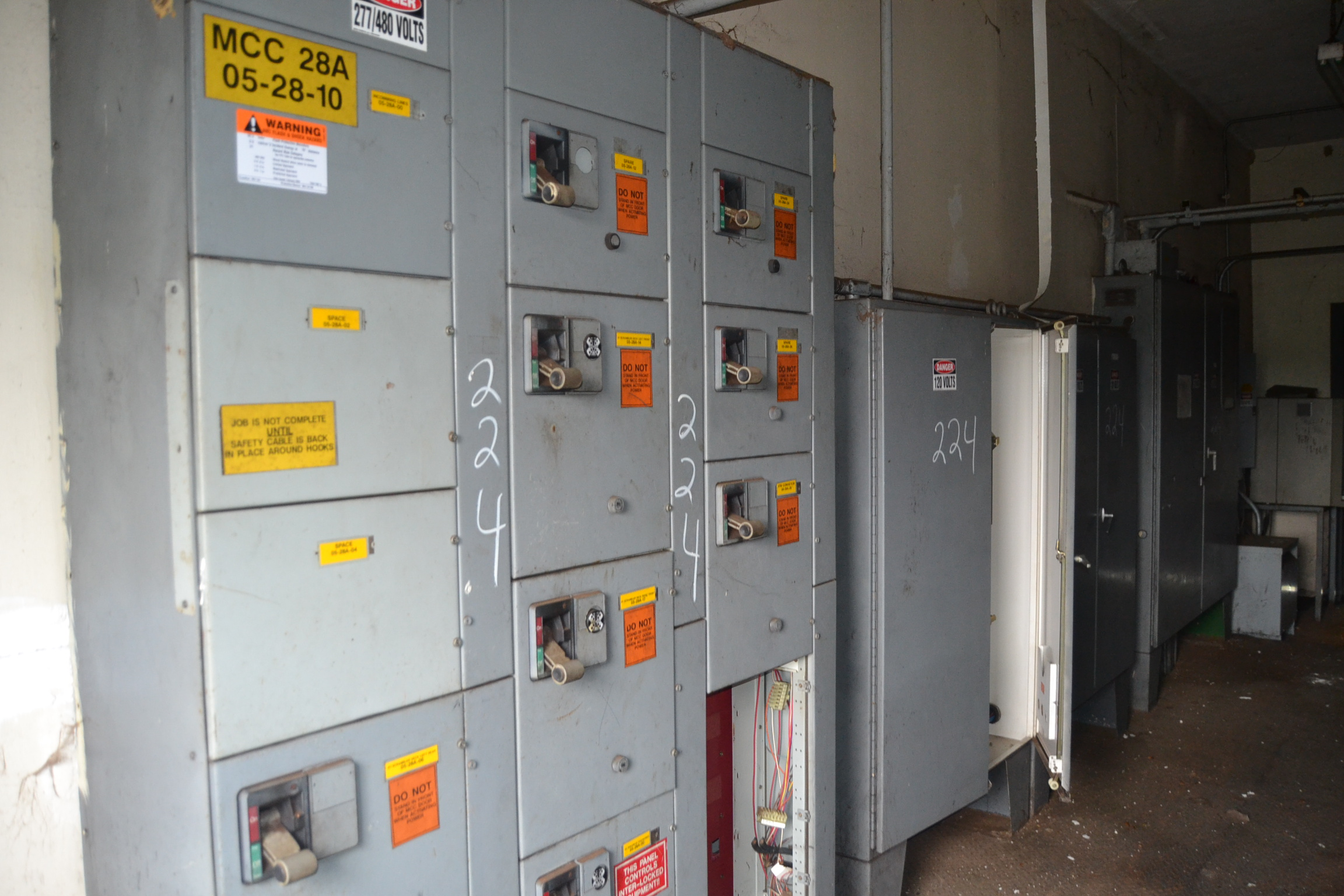 Lot 224 - WESTINGHOUSE 3 SECTION MCC PANEL W/(3) PLC BOXES; W/TRANSFORMER & (2) PANEL BOARDS