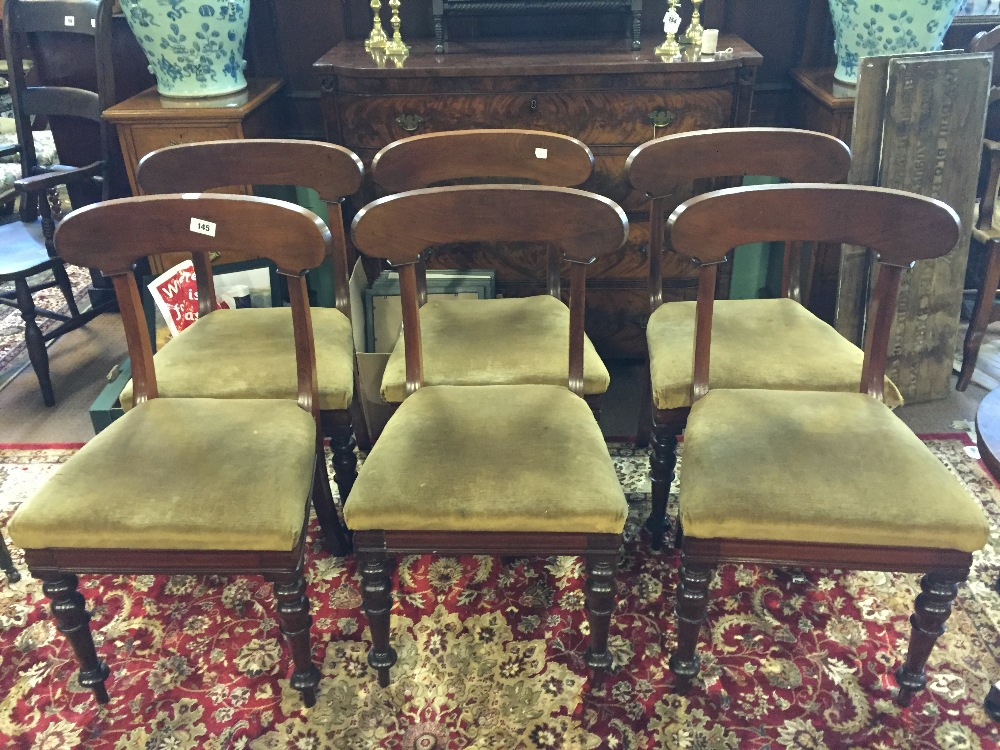 145 good quality set of six victorian mahogany dining room chairs