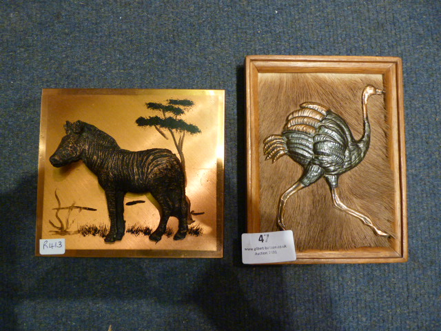 Lot 47 - Two Copper Wall Plaques - Zebra and Ostrich