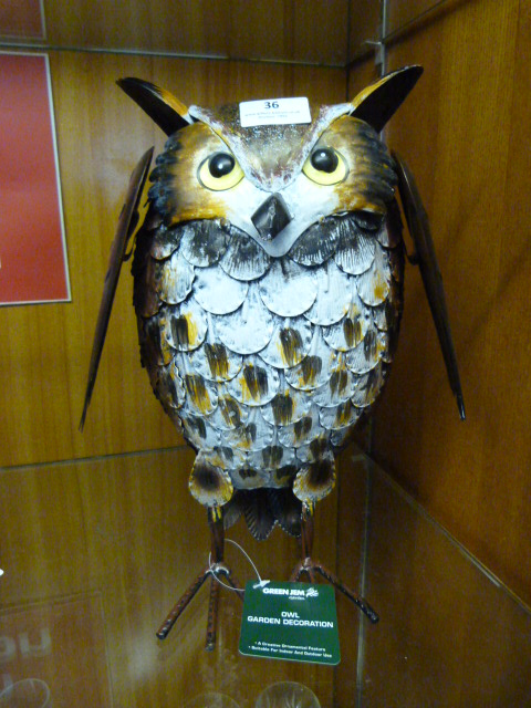 Lot 36 - Painted Metal Garden Ornament - Owl