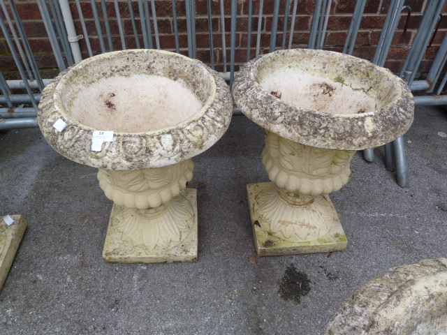 Lot 18 - Pair of Concrete Garden Urns with Leaf Decoration