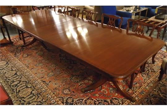 DINING TABLE Regency Style Mahogany Extendable With Three Extra Leaves Bought At Harrods Bears