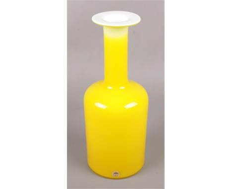 A Holmegaard gul vase, Yellow with white glass interior designed by Ottoe Brauer. 31cm high.  No damage, chips or cracks.