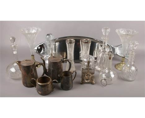 A collection of glass and silver plate, to include pair of silver mounted vases, WMF fish platter, decanters etc.