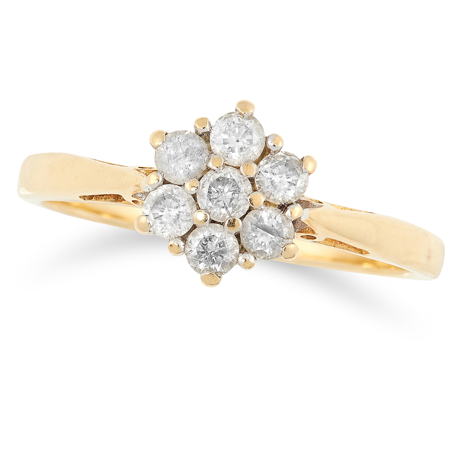 DIAMOND CLUSTER RING set with round and baguette cut diamonds, size R / 9, 3.4g.