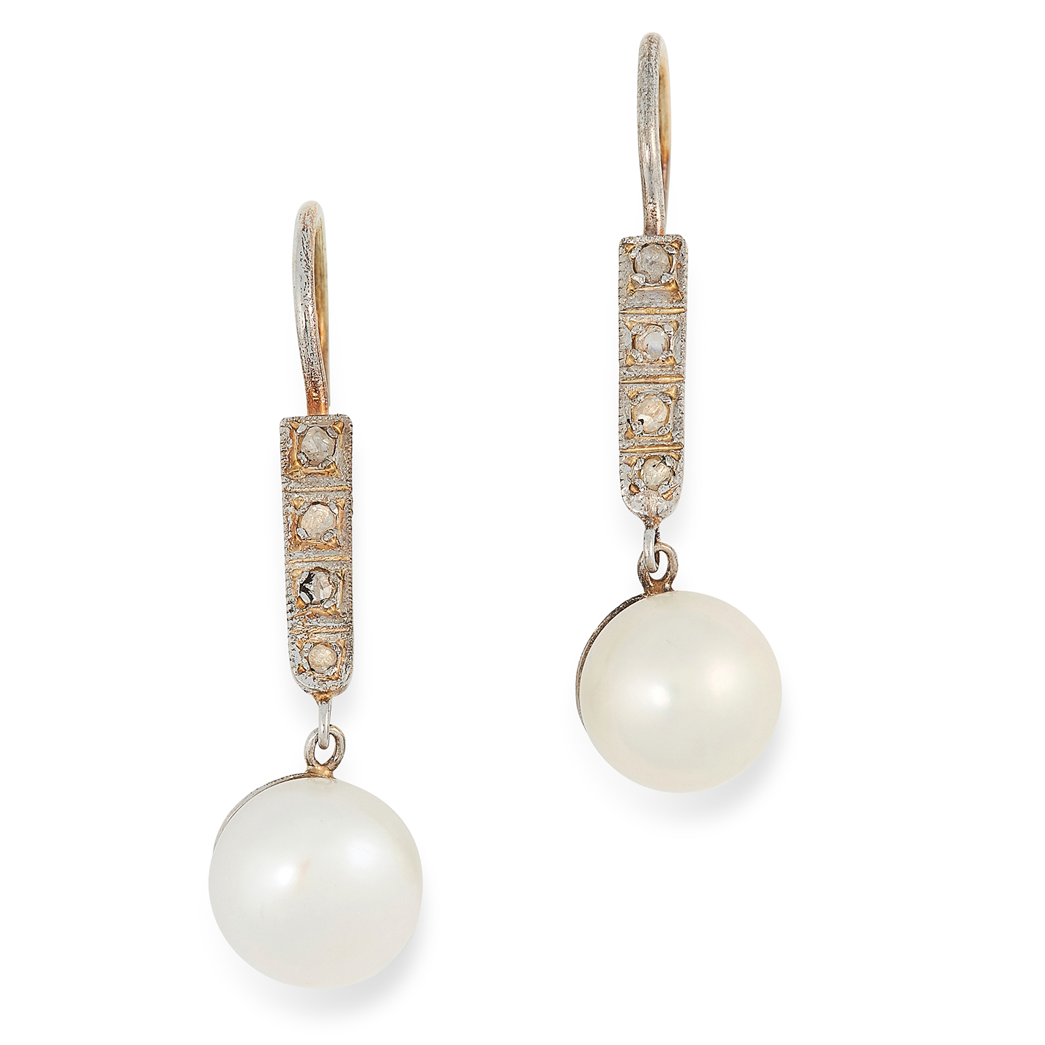 PEARL AND DIAMOND DROP EARRINGS each set with a row of round cut diamonds suspending a pearl drop,