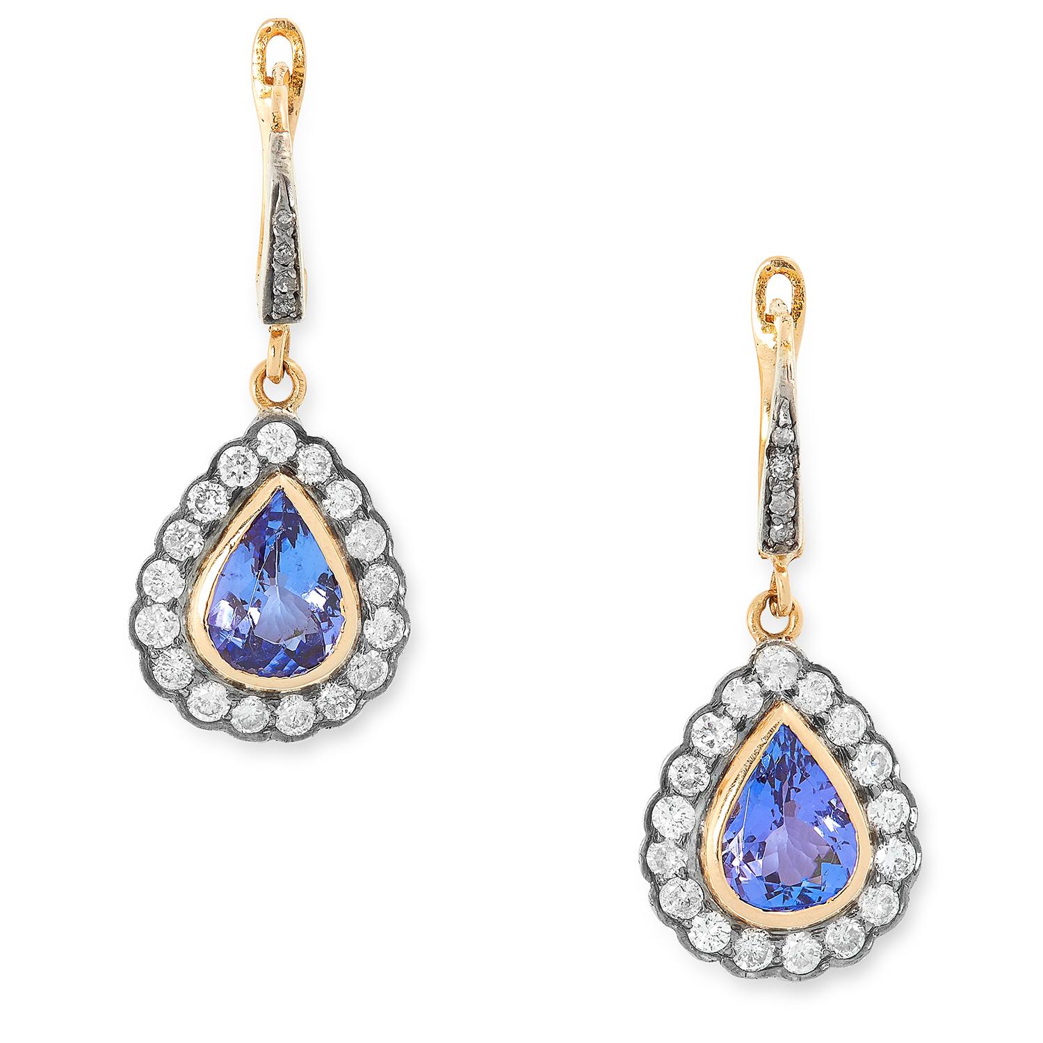 TANZANITE AND DIAMOND CLUSTER EARRINGS each set with a pear cut tanzanite in a cluster of round