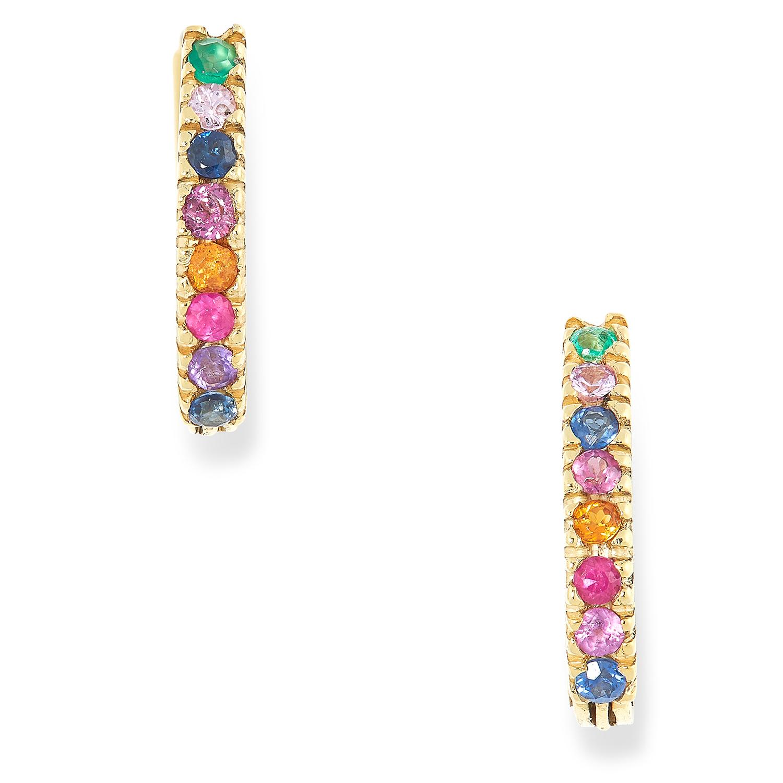 GEMSET HOOP EARRINGS set with multicoloured round cut corundum, 1,2cm, 2.6g.