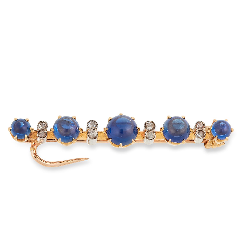 DIAMOND AND GEMSTONE BROOCH set with alternating rose cut diamonds and cabochon blue gemstones, 3.