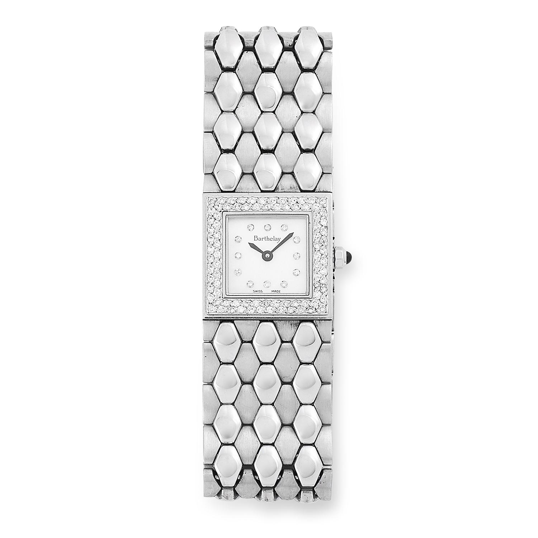 LADIES LES SLOANES DIAMOND WATCH, BARTHELAY set with round cut diamonds, 16cm, 83.1g.