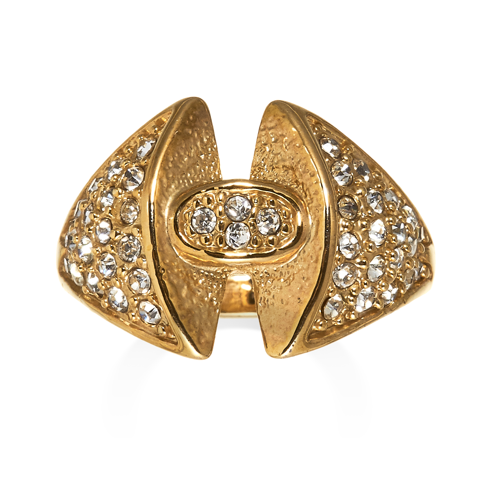 DIAMOND DRESS RING the central oval motif set with round cut diamonds, between tapering shoulders
