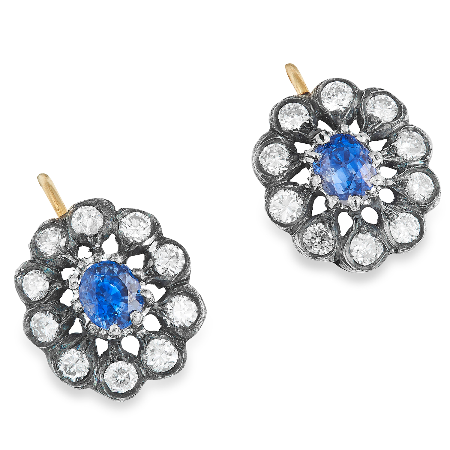 SAPPHIRE AND DIAMOND CLUSTER EARRINGS each set with an oval cut sapphire in a cluster of round cut
