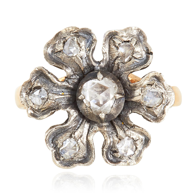 DIAMOND RING depicting a flower set with rose cut diamonds, 4.52g.