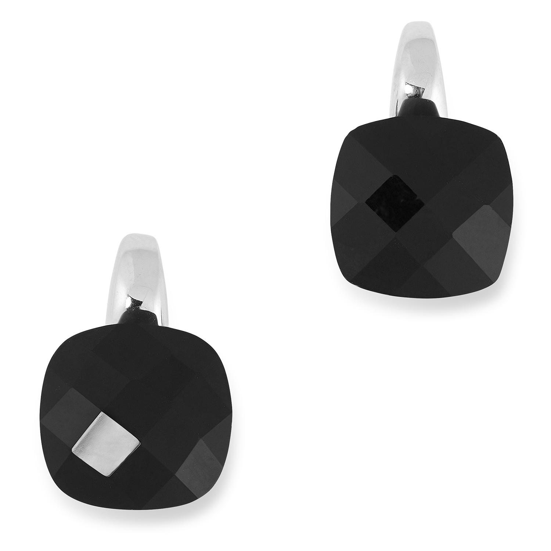 ONYX EARRINGS each set with a single piece of polished onyx, 1.3cm, 8.1g.