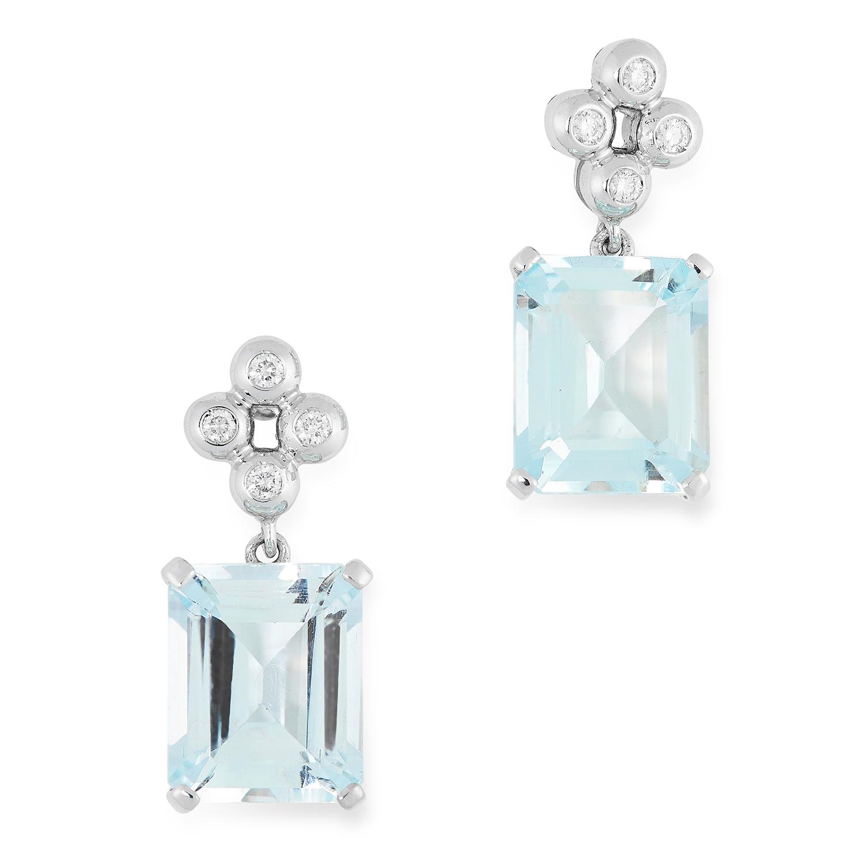 AQUAMARINE AND DIAMOND EARRINGS each set with round cut diamonds and emerald cut aquamarines, 2cm,