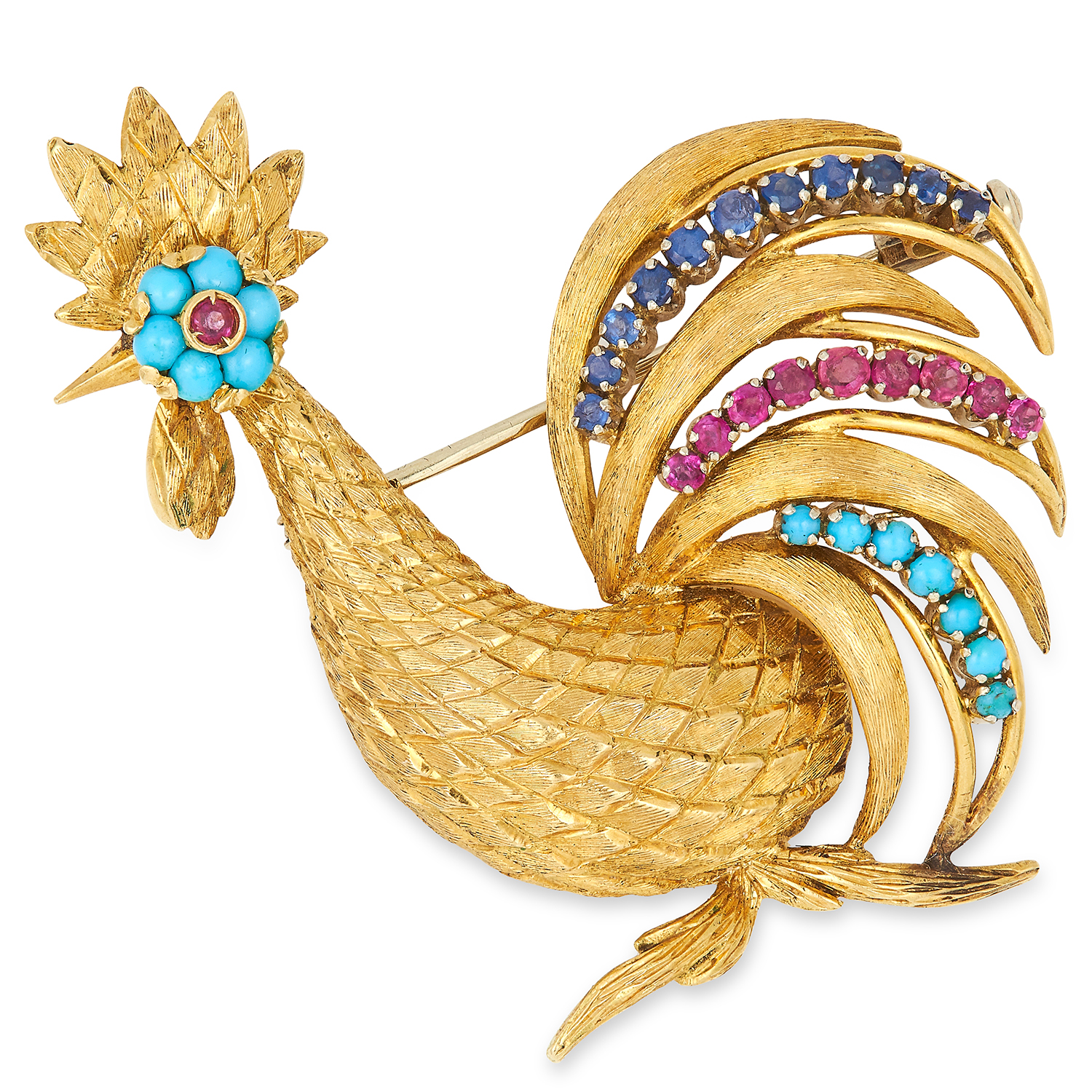 VINTAGE GEMSET COCKEREL BROOCH, set with cabochon turquoise, round cut rubies and round cut