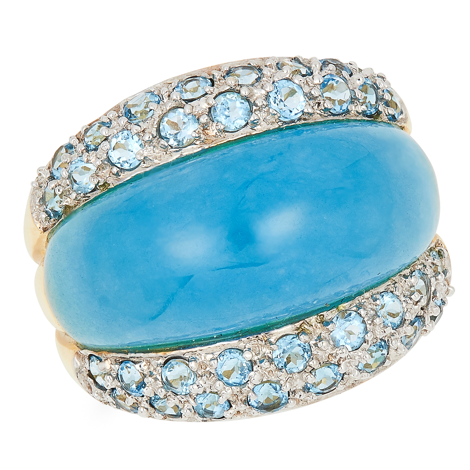 BLUE HARDSTONE BOMBE RING, set with a blue hard stone and round cut blue stones, size M / 6, 7.1g.