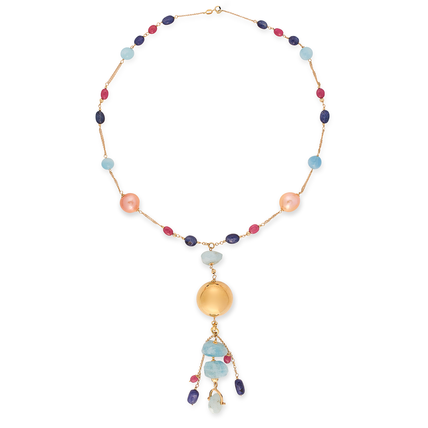 GEMSTONE BEAD NECKLACE set with pearls, pale blue, blue and red gemstone beads, 50cm, 43.3g.