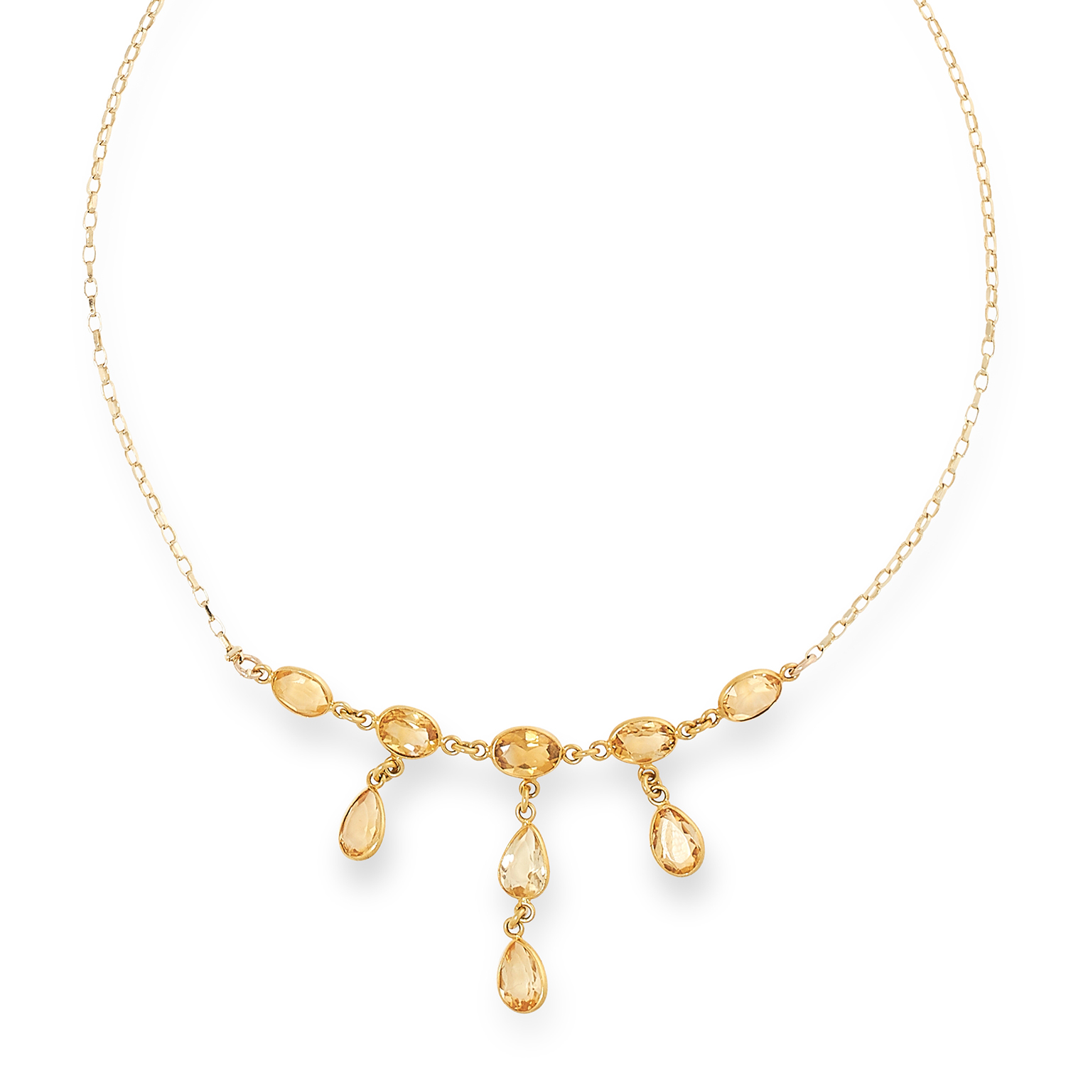 CITRINE NECKLACE on a fine link chain suspending oval and pear cut citrines, 46cm, 4g.