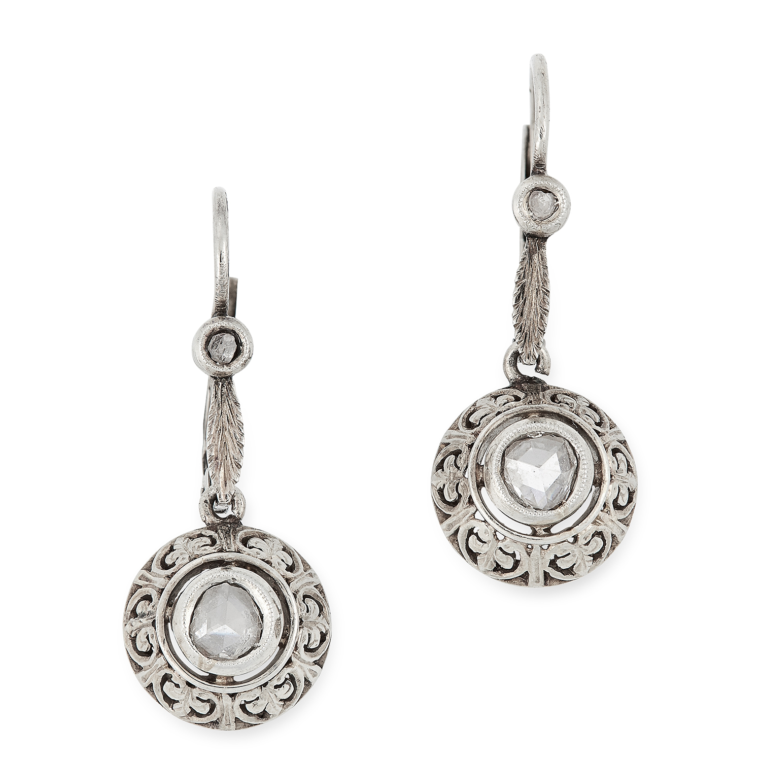 DIAMOND DROP EARRINGS each set with a rose cut diamond surrounded by floral motifs, below a