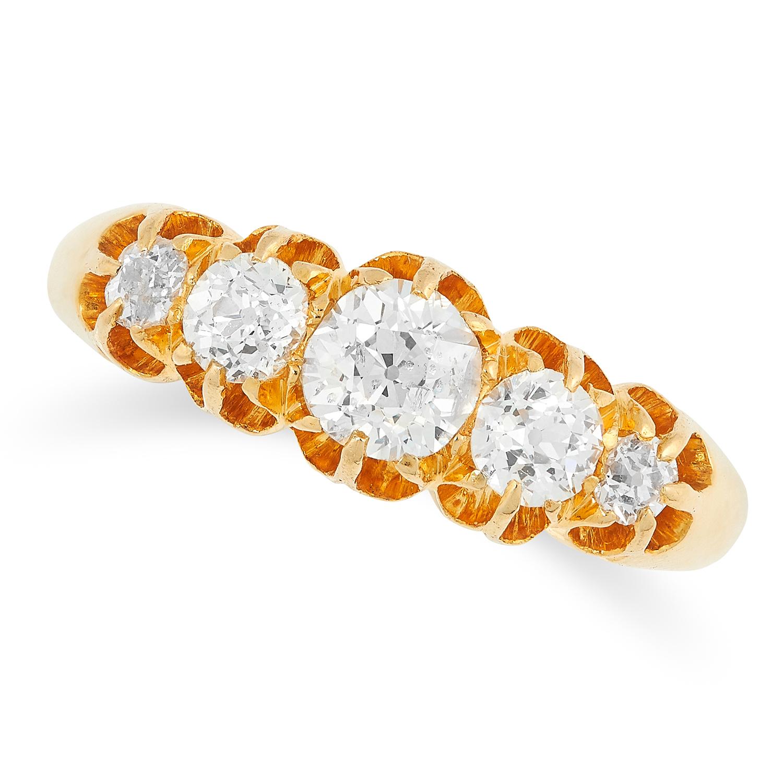 ANTIQUE DIAMOND FIVE STONE RING set with old cut diamonds, British hallmarks, size P / 7.5, 5.2g.