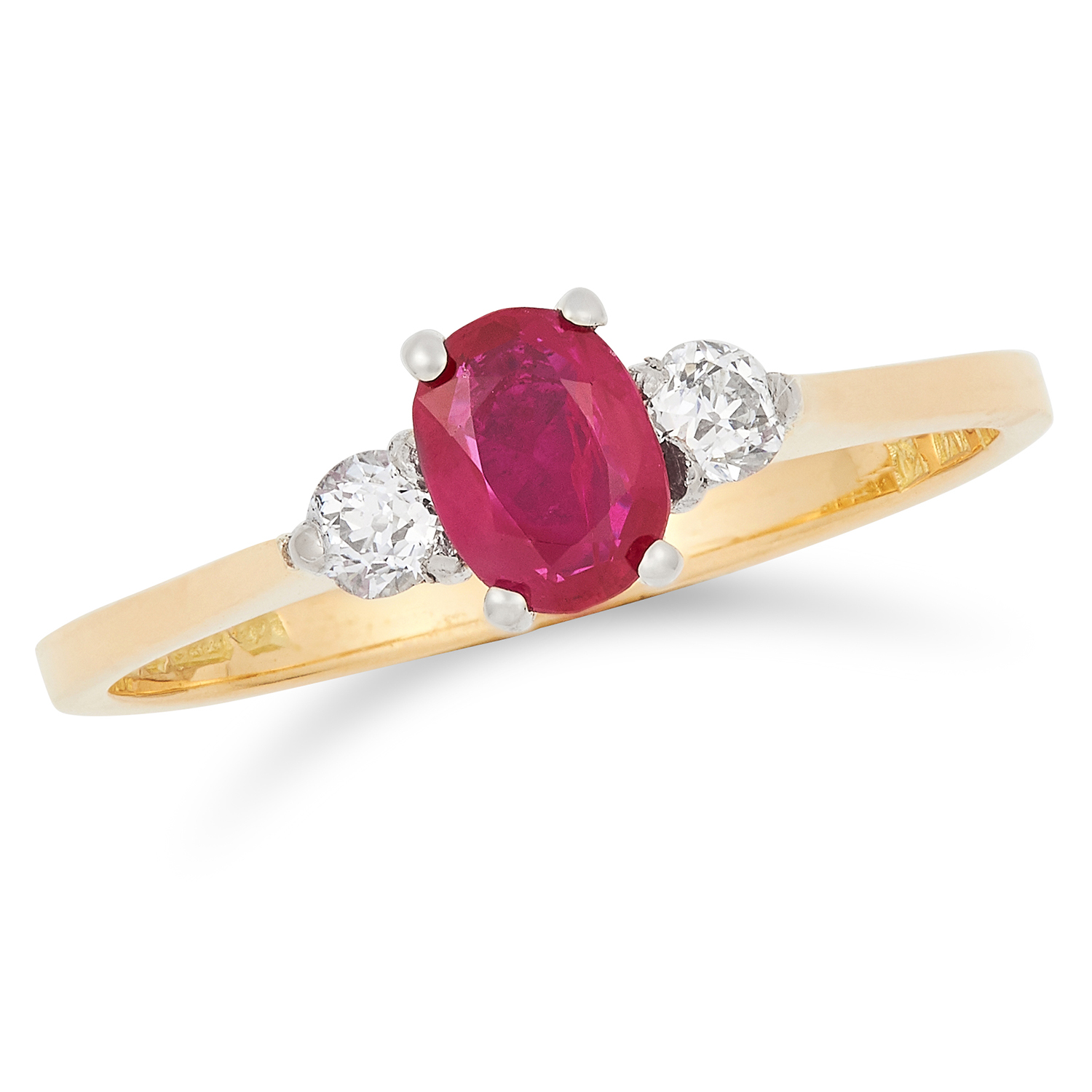 RUBY AND DIAMOND RING set with an oval cut ruby between two round cut diamonds, size L / 6, 2g.