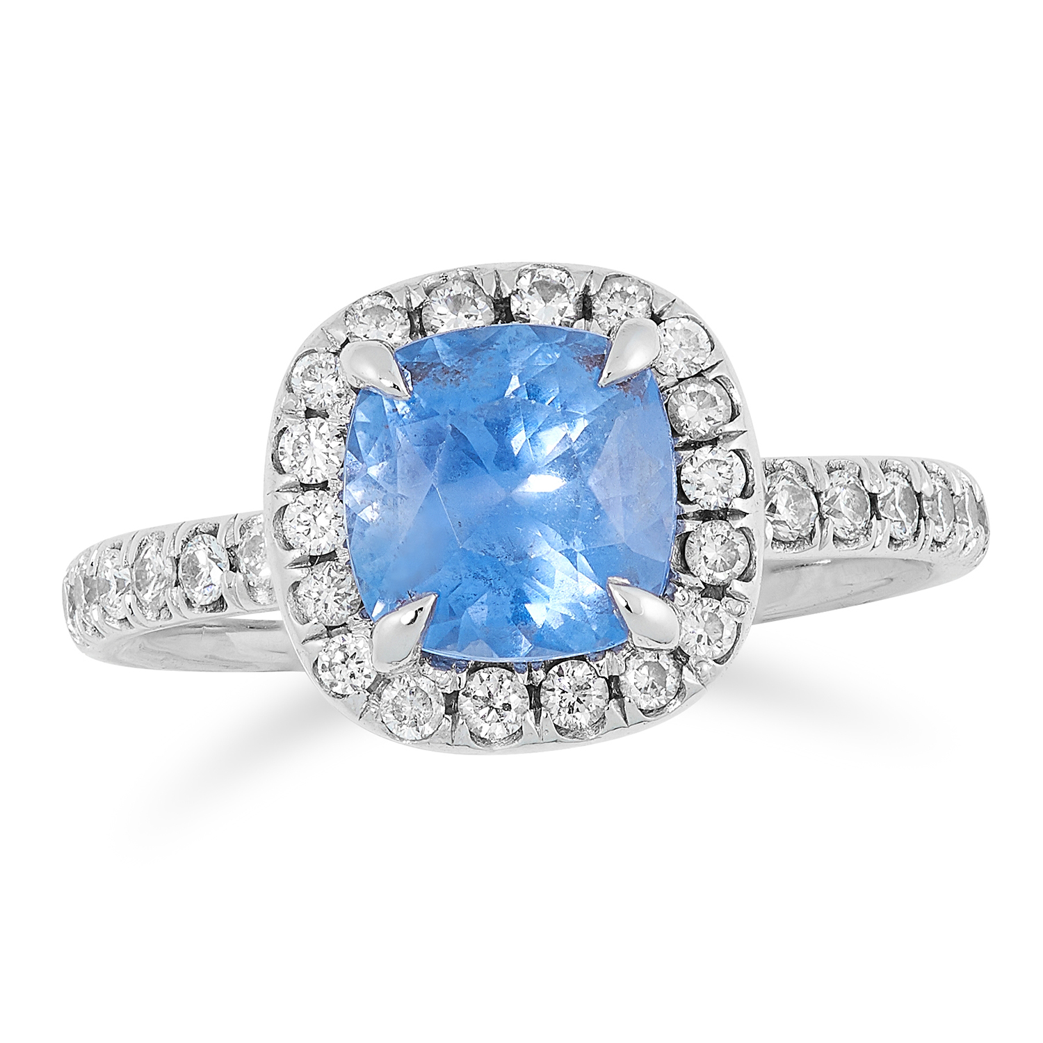 1.44 CARAT SAPPHIRE AND DIAMOND CLUSTER RING set with a cushion cut Ceylon sapphire of 1.44 carats