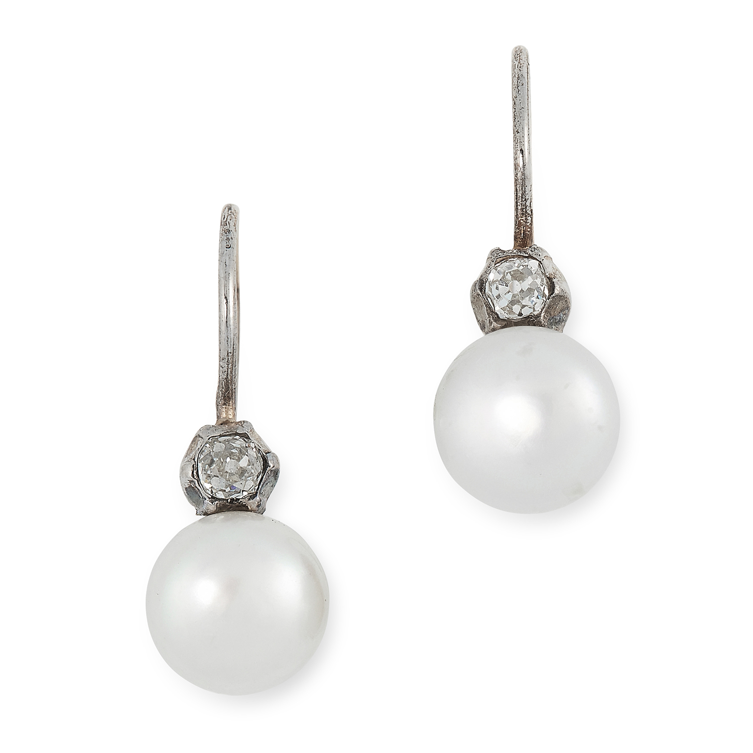 DIAMOND AND PEARL EARRINGS each comprising of an old cut diamond suspending a pearl, 2cm, 2.4g.