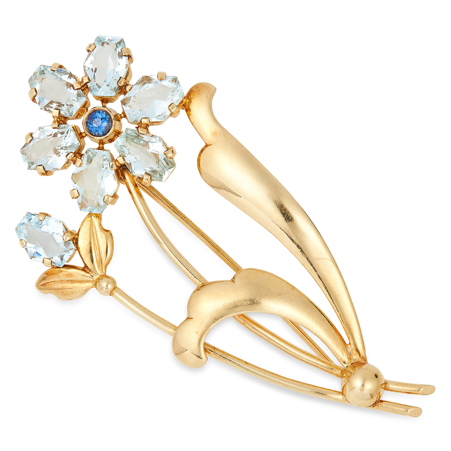 VINTAGE AQUAMARINE AND SAPPHIRE FLOWER BROOCH set with fancy 11cut aquamarines and a round cut