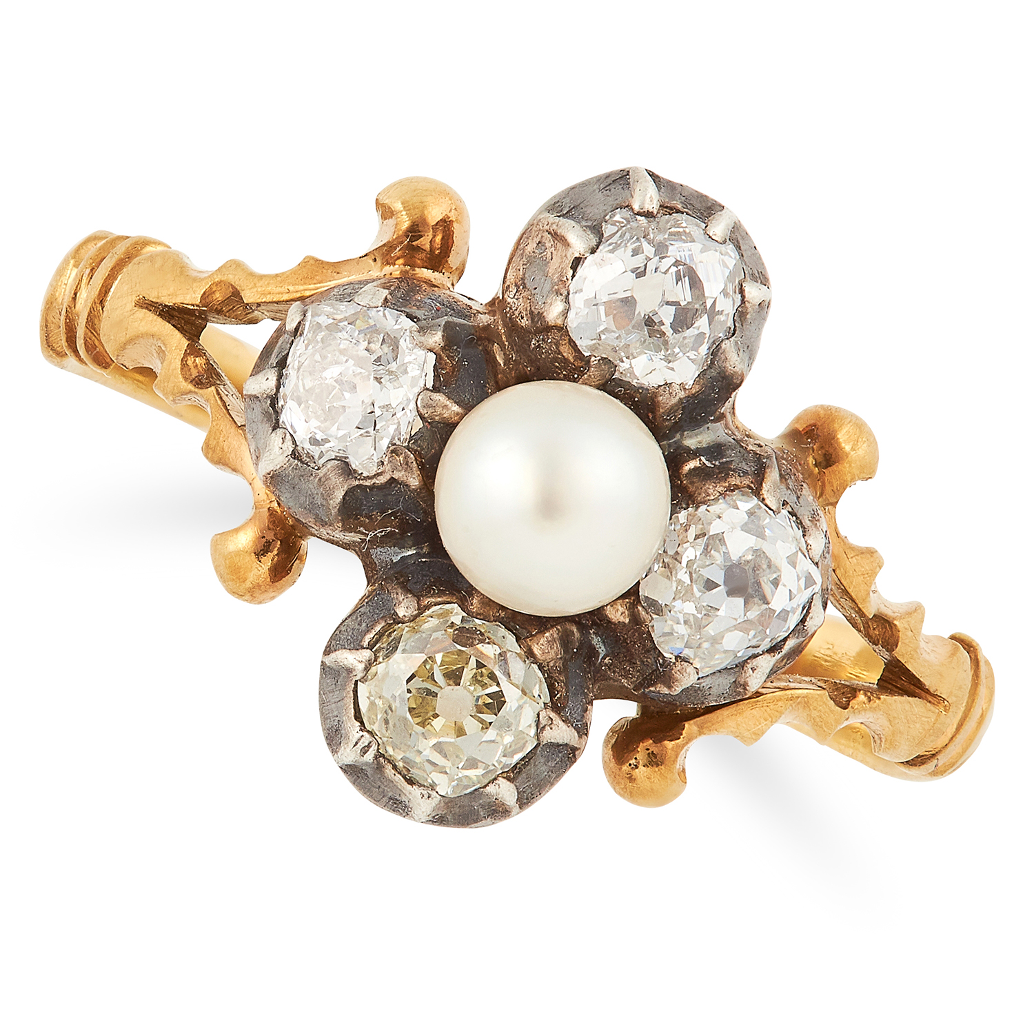 PEARL AND DIAMOND RING comprising of a pearl and old cut diamonds, size O / 7, 3.5g.