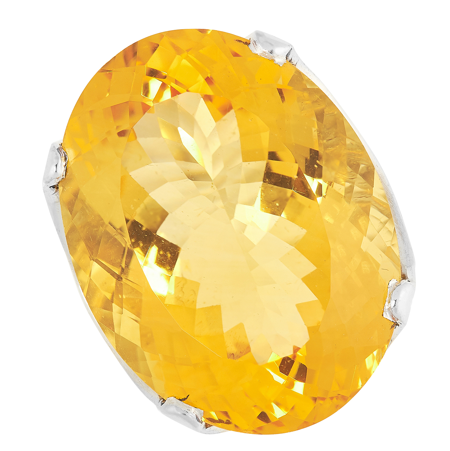CITRINE DRESS RING set with a large oval cut citrine, size L / 5.5, 11.4g.