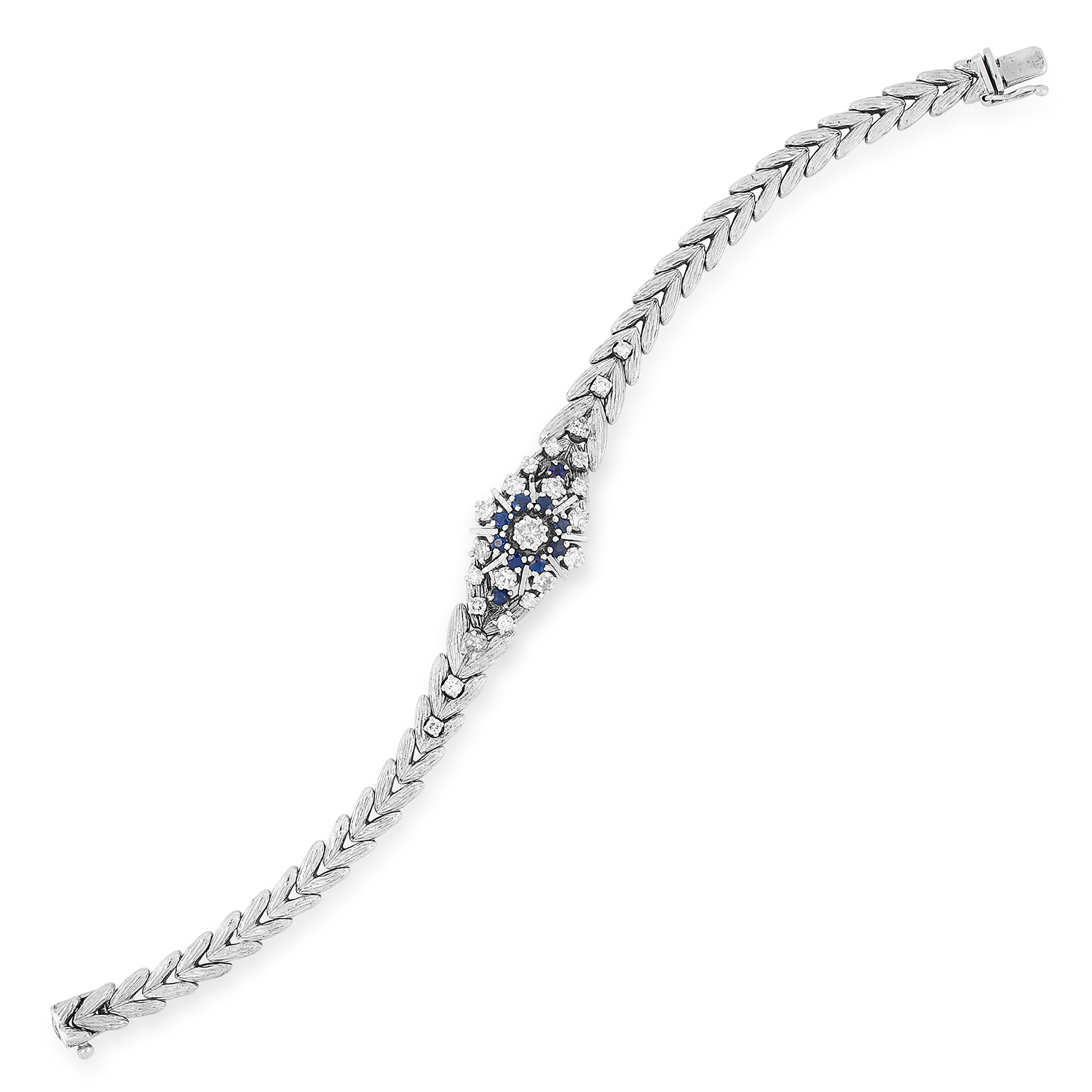 SAPPHIRE AND DIAMOND BRACELET the fancy link chain is set with round cut diamonds and sapphires,