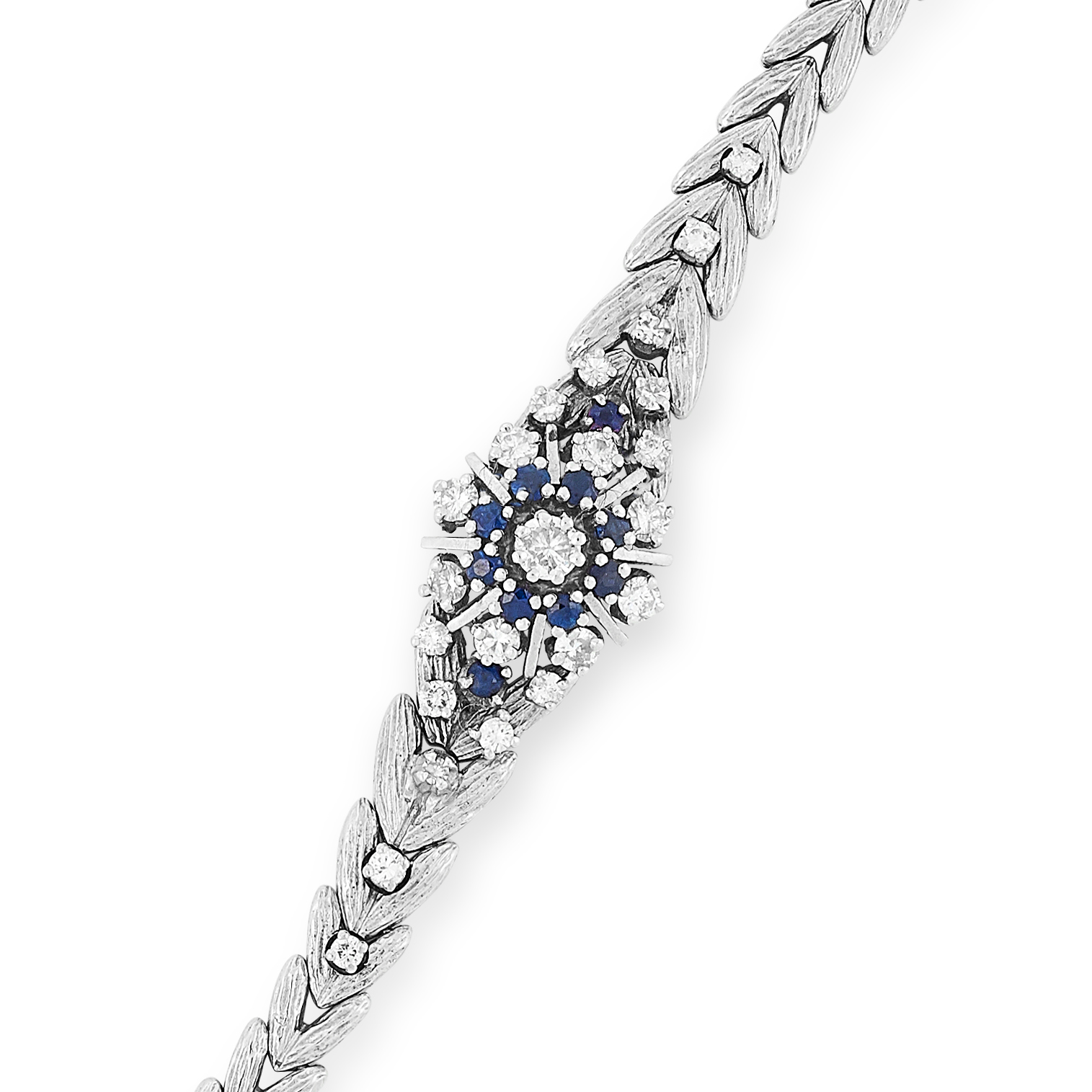 SAPPHIRE AND DIAMOND BRACELET the fancy link chain is set with round cut diamonds and sapphires, - Image 2 of 2