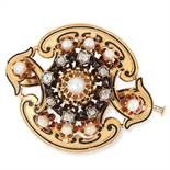 ANTIQUE VICTORIAN PEARL, DIAMOND AND ENAMEL BROOCH set with pearls, old cut diamonds and black