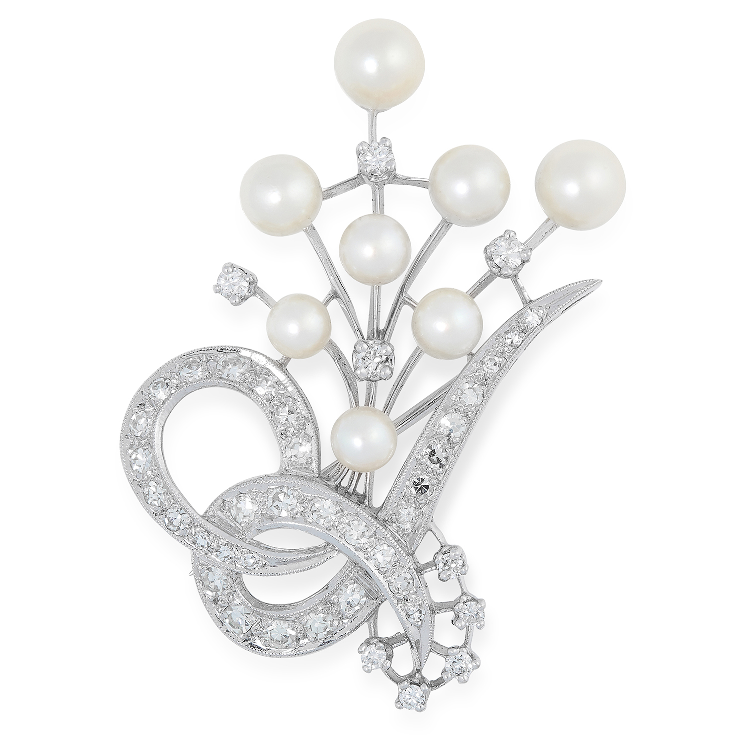 PEARL AND DIAMOND SPRAY BROOCH set with pearls and round cut diamonds, 4.5cm, 8.8g.