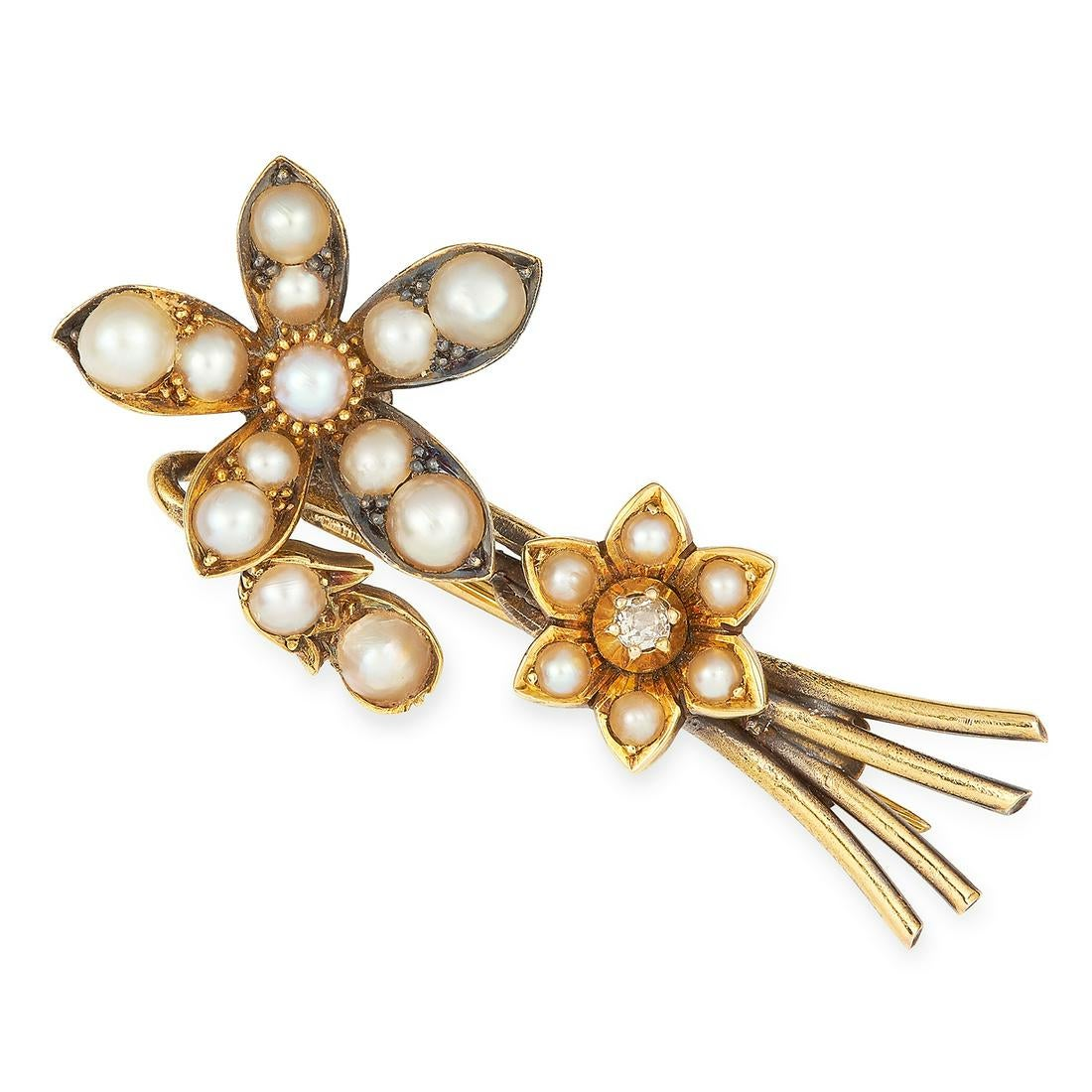 ANTIQUE GEORGIAN PEARL AND DIAMOND EN TREMBLANT FLOWER SPRAY BROOCH set with seed pearls and an